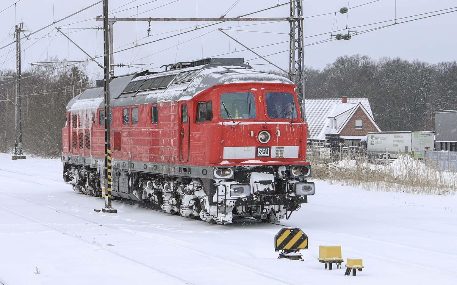 SEL 234 278-0 na inspectierit uit Salzbergen in Bad Bentheim, dinsdag 9 februari 2021. Zondag viel er veel sneeuw. Meeste treinen vielen daarna uit_