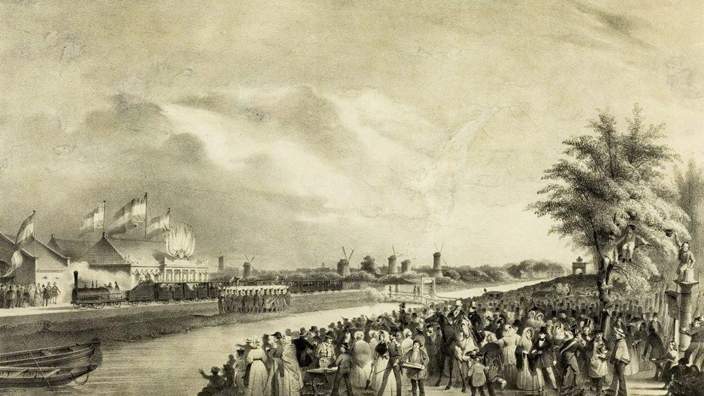 Prent opening _Amsterdam-Haarlem 1839
